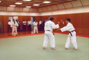 柔道の訓練を見学